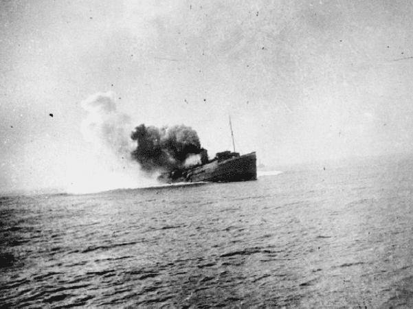 Photo: the Isle of Man steam ferry SS Mona's Queen sinking after striking a mine off Dunkirk during the evacuation, 29 May 1940. Credit: Imperial War Museums; Wikimedia Commons.