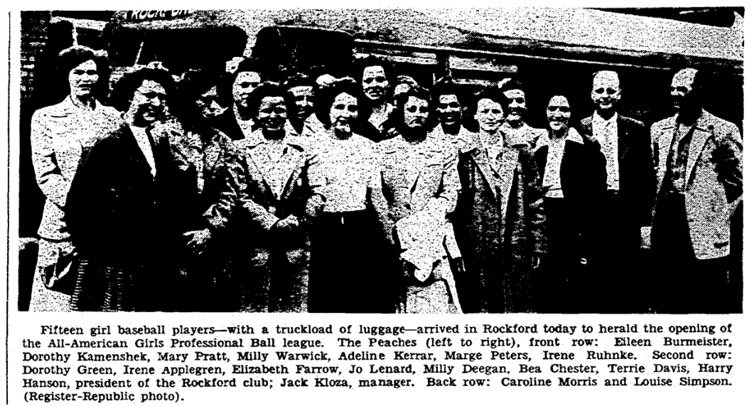 An article about women's professional baseball, Register-Republic newspaper article 25 May 1944
