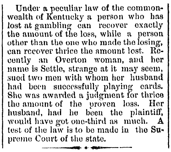 An article about a gambling law, Repository newspaper article 30 December 1882