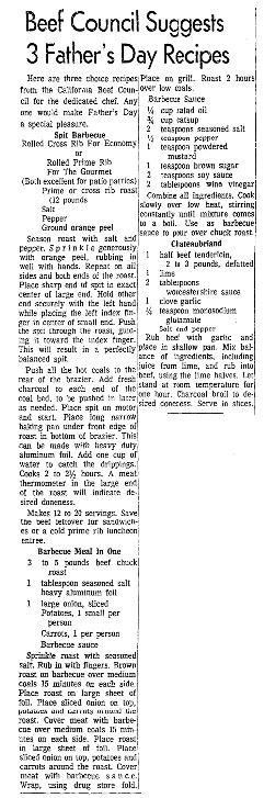Beef recipes, Sacramento Bee newspaper article 16 June 1965