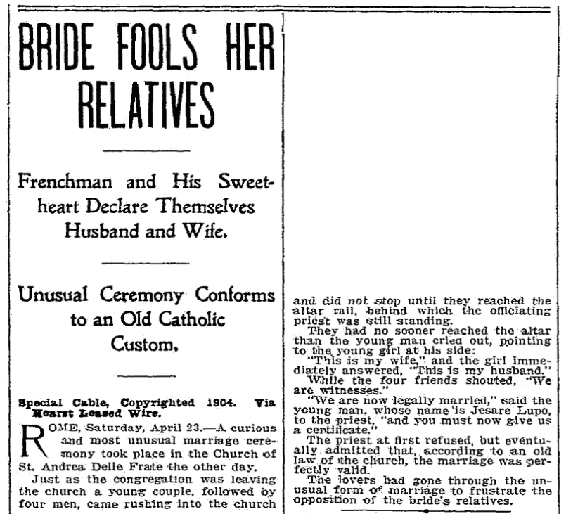 An article about a marriage law, Seattle Daily Times newspaper article 24 April 1904