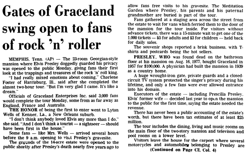 "An article about Elvis Presley's home ""Graceland"" being opening to the public for tours, Trenton Evening Times newspaper article 8 June 1982"