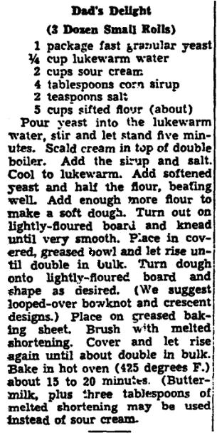 A recipe for dinner rolls, Trenton Evening Times newspaper article 11 June 1942