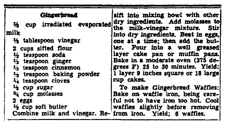 A recipe for gingerbread, Trenton Evening Times newspaper article 11 June 1942
