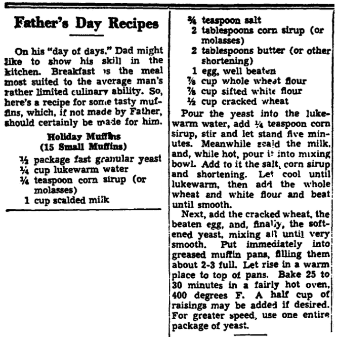 A recipe for muffins, Trenton Evening Times newspaper article 11 June 1942