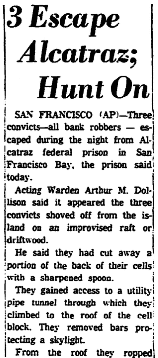 An article about an attempted escape from Alcatraz federal prison, Trenton Evening Times newspaper article 12 June 1962