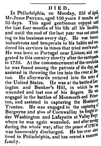 An obituary for John Peters, Alexandria Gazette newspaper article 1 May 1832
