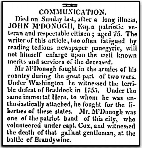 An obituary for John McDonogh, American and Commercial Daily Advertiser newspaper article 22 March 1809