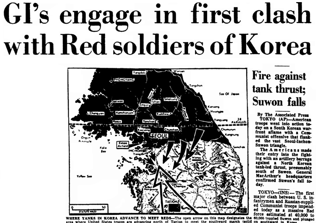 An article about the Battle of Osan during the Korean War, Augusta Chronicle newspaper article 5 July 1950