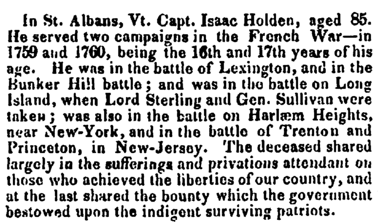 An obituary for Isaac Holden, Boston Traveler newspaper article 27 July 1827