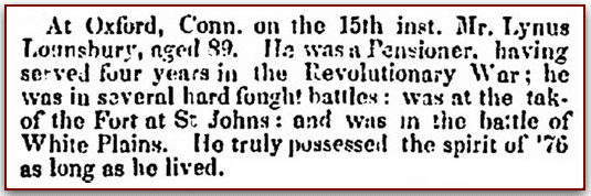 An obituary for Lynus Lounsbury, Columbian Register newspaper article 23 July 1836