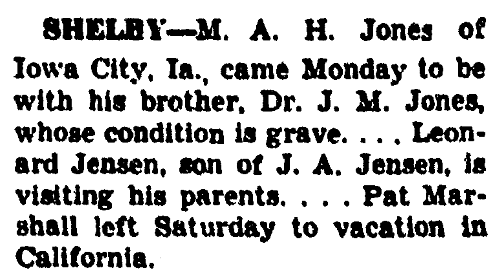 An article about M. A. H. Jones, Daily Nonpareil newspaper article 20 July 1938