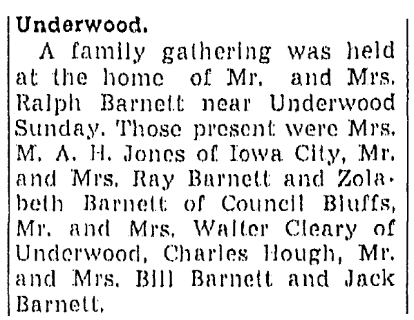 An article about a reunion of the Barnett family, Daily Nonpareil newspaper article 23 July 1946