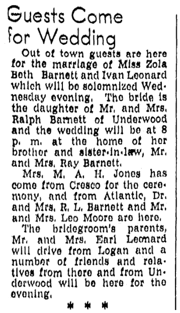 An article about the wedding of Zola Beth Barnett and Ivan Leonard, Daily Nonpareil newspaper article 8 December 1948