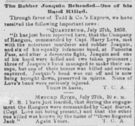 An article about Joaquin Murietta, Daily Placer Times and Transcript newspaper article 29 July 1853