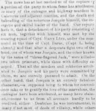 An article about Joaquin Murietta, Daily Placer Times and Transcript newspaper article 30 July 1853