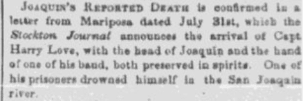 An article about Joaquin Murietta, Daily Placer Times and Transcript newspaper article 5 August 1853