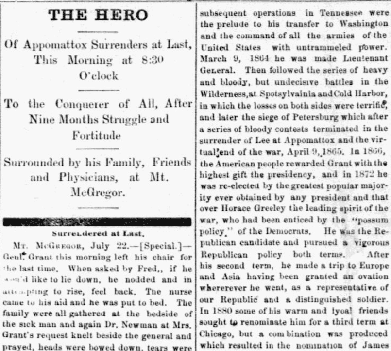An article about the death of President Ulysses S. Grant, Grand Forks Daily Herald newspaper article 23 July 1885
