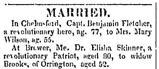 Wedding notices, Haverhill Gazette newspaper article 15 March 1823