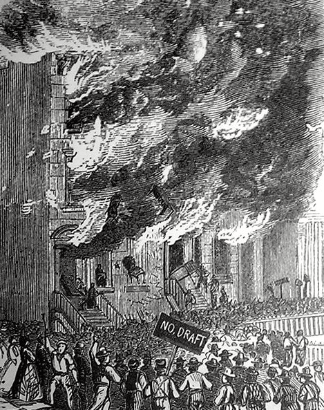 Illustration: rioters attacking a building on Lexington Avenue in New York City during the New York Draft Riots of 1863