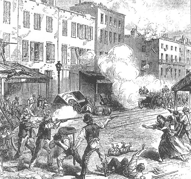 Illustration: a drawing from a British newspaper showing armed rioters clashing with Union Army soldiers in New York City during the 1863 Draft Riots