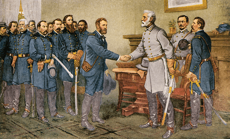 Illustration: the surrender of General Lee to General Grant at Appomattox Court House, Virginia, 9 April 1865
