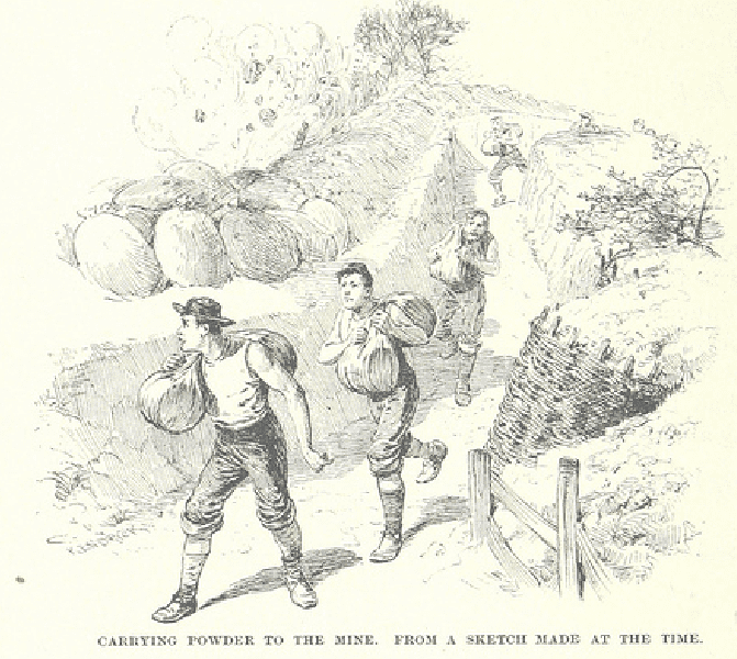 "Illustration: ""Carrying Powder to the Mine, from a Sketch Made at the Time."""