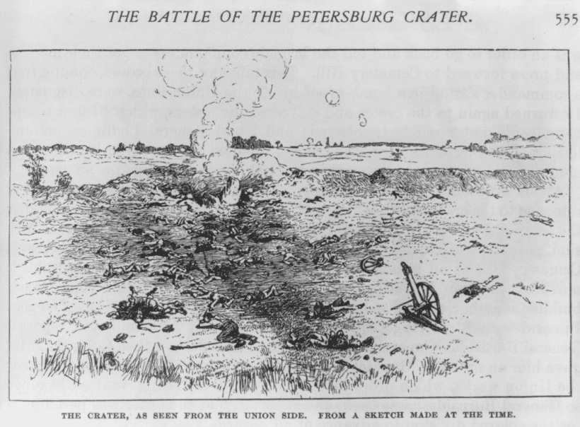 "Illustration: ""The Crater, as Seen from the Union Side, from a Sketch Made at the Time."""