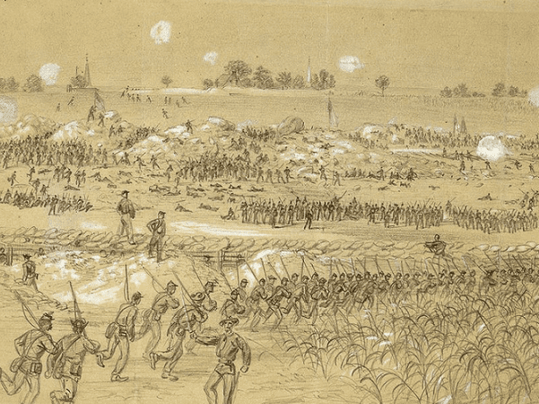 Illustration: Battle of the Crater, scene of the explosion, by Alfred Waud, 30 July 1864. Credit: Library of Congress, Prints and Photographs Division.