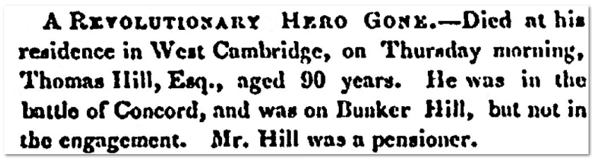 An obituary for Thomas Hill, Massachusetts Spy newspaper article 15 July 1851