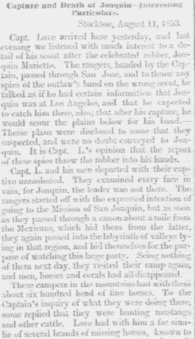 An article about Joaquin Murietta, Milwaukee Sentinel newspaper article 16 September 1853