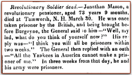 An obituary for Jonathan Mason, New Hampshire Patriot and State Gazette newspaper article 13 May 1839