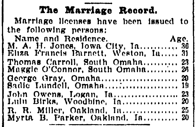 A list of marriage licenses, Omaha World-Herald newspaper article 30 July 1902