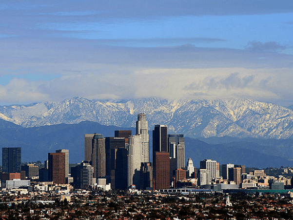 Photo: Los Angeles with the San Gabriel Mountains in the background. Credit: Todd Jones; Wikimedia Commons.