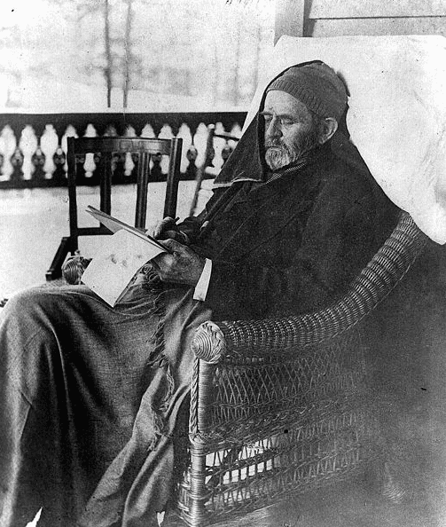 Photo: Ulysses Grant writing memoirs at Mount McGregor near Saratoga Springs, New York, 27 June 1885, less than a month before his death