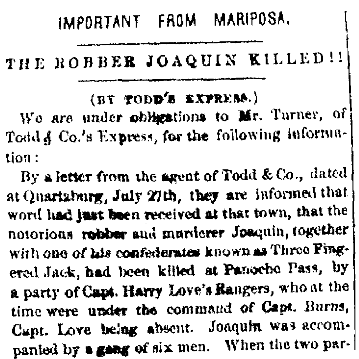 An article about Joaquin Murietta, San Francisco Evening Journal newspaper article 29 July 1853