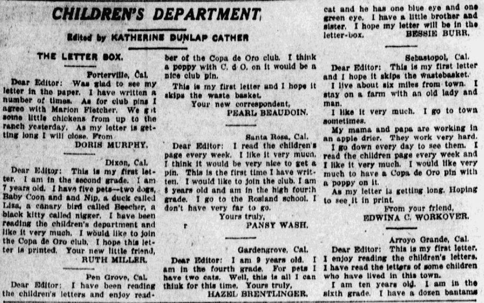 Letters to the editor written by children, San Jose Mercury News newspaper article 15 November 1914