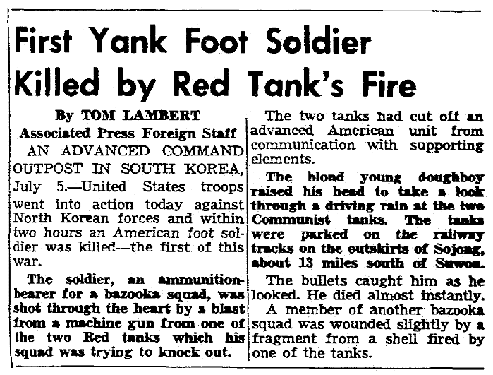 An article about the Battle of Osan during the Korean War, Seattle Daily Times newspaper article 5 July 1950