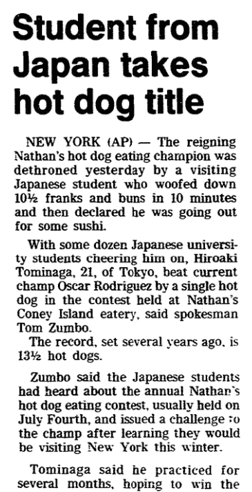 An article about an eating contest, Trenton Evening Times newspaper article 13 February 1986
