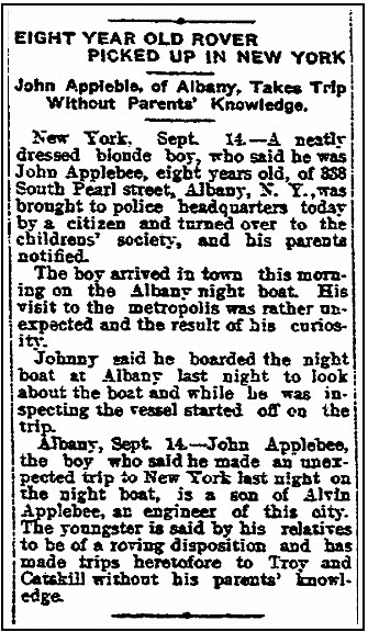 An article about John Applebee, Watertown Daily Times newspaper article 14 September 1911