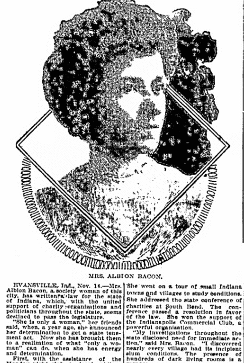 An article about Albion Bacon, Wilkes-Barre Times-Leader newspaper article 14 November 1908