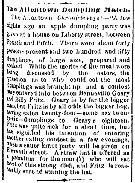 An article about an eating contest, Wilmington Daily Commercial newspaper article 18 December 1876
