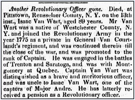 An obituary for Isaac Van Wart, Barre Gazette newspaper article 31 July 1840
