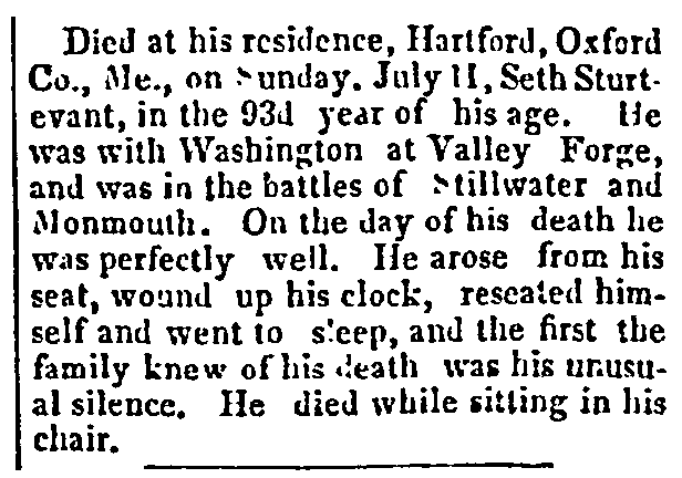 An obituary for Seth Sturtevant, Constitution newspaper article 28 July 1852
