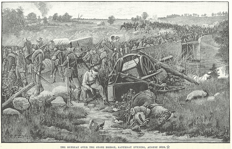 "Illustration: ""Union troops retreat after the Second Battle of Bull Run,"" by Rufus Fairchild Zogbaum"