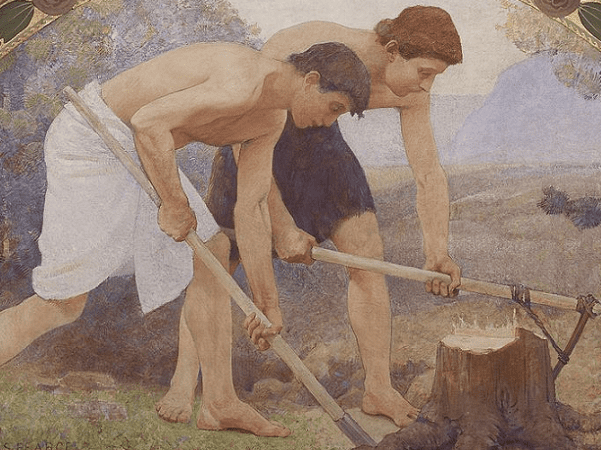 Illustration: detail from Labor mural from the Family and Education series by Charles Sprague Pearce, 1896