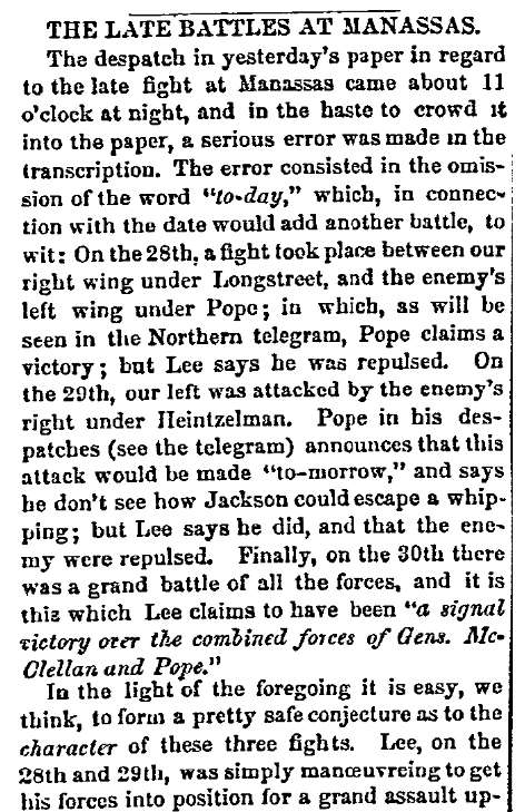 An article about the Civil War's Second Battle of Bull Run (Manassas), Macon Telegraph newspaper article 4 September 1862