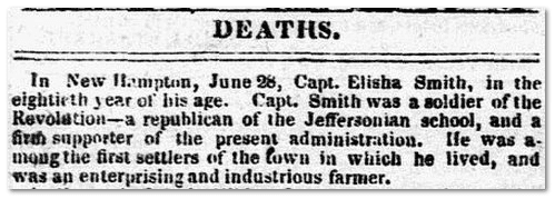An obituary for Elisha Smith, New Hampshire Patriot newspaper article 7 July 1834