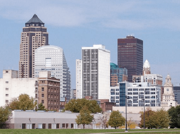 Photo: skyline of Des Moines, Iowa's capital and largest city. Credit: Tim Kiser; Wikimedia Commons.