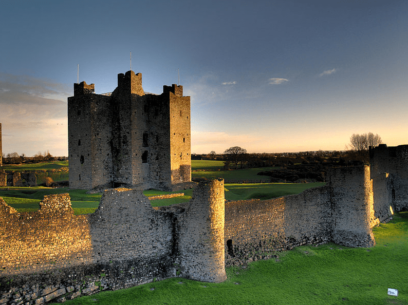 Photo: Trim Castle, Co Meath, Ireland, at sunrise. Credit: Andrew Parnell; Wikimedia Commons.